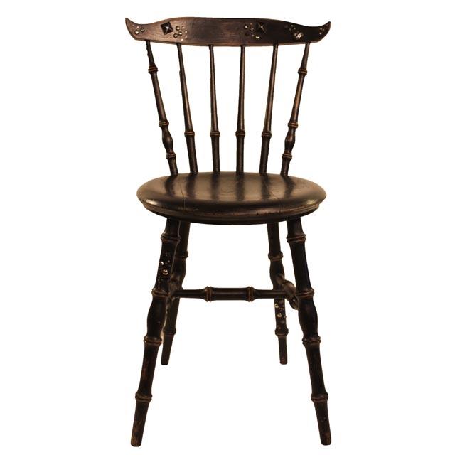 Taller artco silla de madera negra con tachuelas - Sillas antiguas de madera ...
